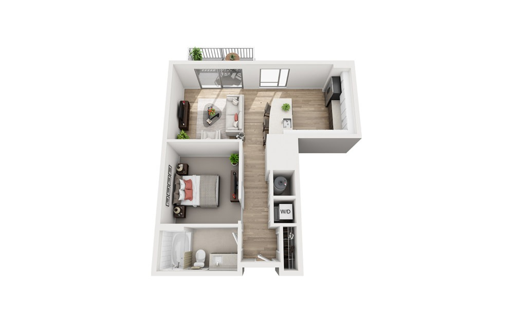A1B - 1 bedroom floorplan layout with 1 bath and 672 square feet.