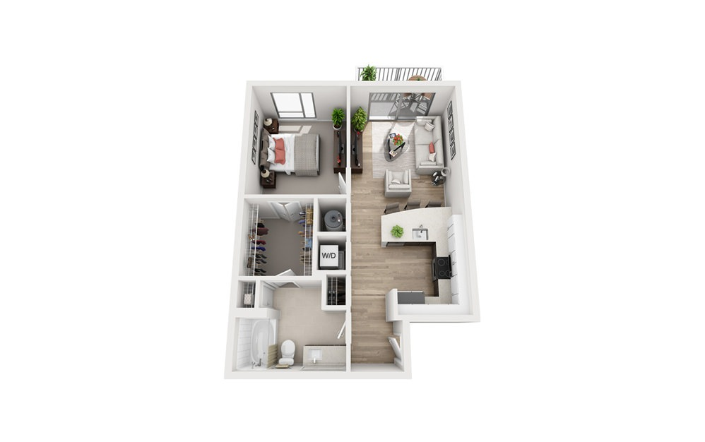 B1 - 1 bedroom floorplan layout with 1 bath and 722 square feet.