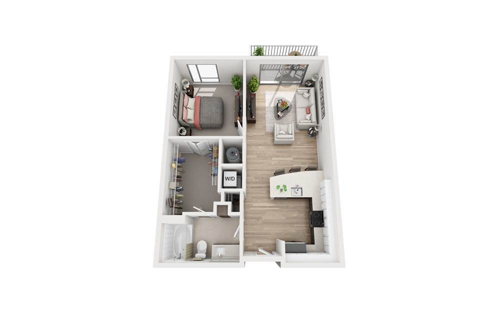 D1B - 1 bedroom floorplan layout with 1 bath and 700 to 726 square feet.