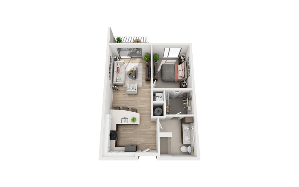 E1A - 1 bedroom floorplan layout with 1 bath and 736 square feet.