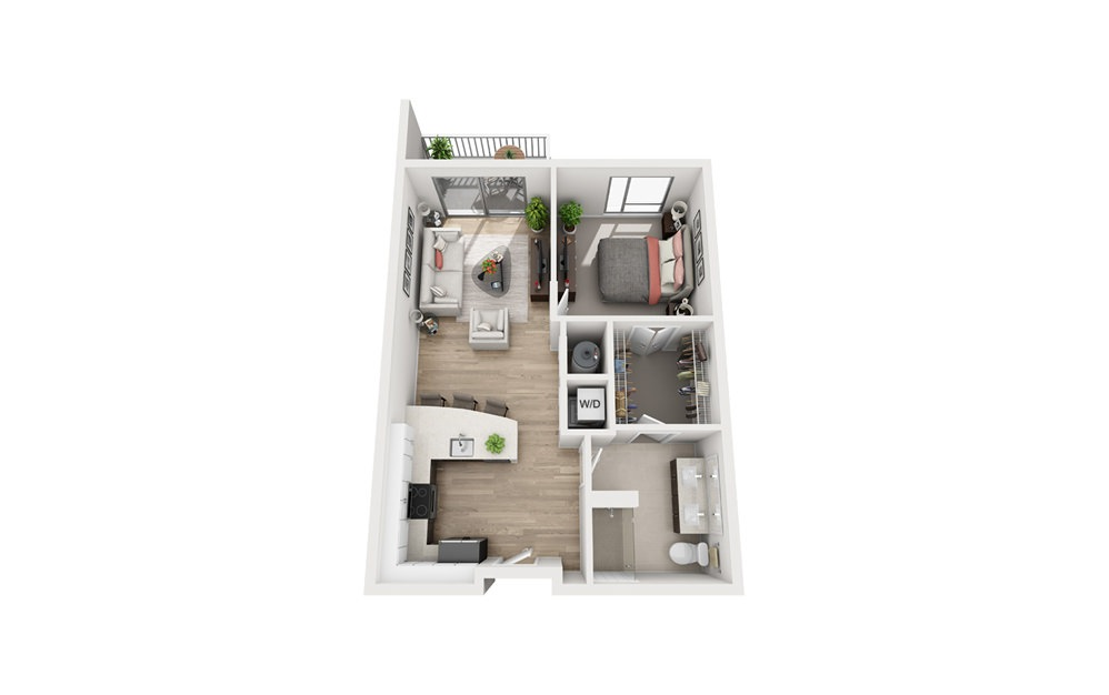 F1B - 1 bedroom floorplan layout with 1 bath and 746 to 752 square feet.