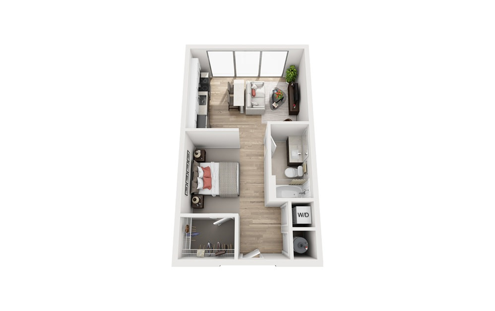 S1 - Studio floorplan layout with 1 bath and 572 square feet.